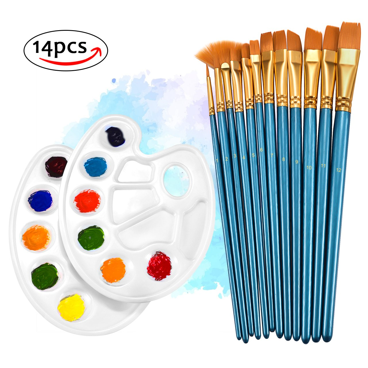 Paint Brushes,TOPELEK 12 Pcs Paint Brush Set With 2 Additional Paint Tray Palettes for Acrylic,watercolor,Craft & oil painting.Great for Beginners, Kids, Artists and Painting Lovers Mpow PAGEAR001AL-V