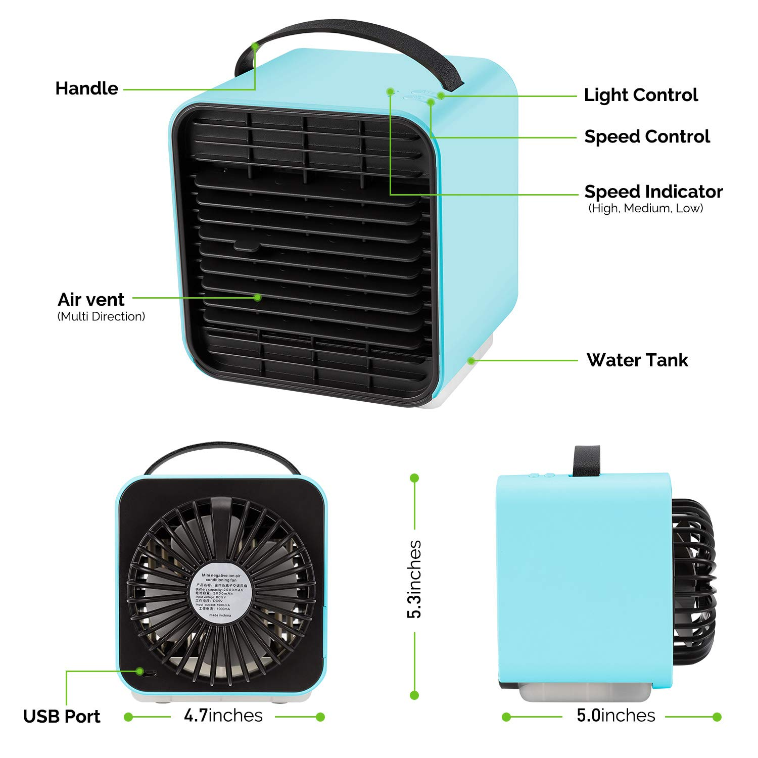 Personal Space Air Cooler Desk Fan Mini Evaporative Cooler Purifier Table Fan USB Rechargeable Fan with Handle and Night Light for Home Room Office Dorm Blue UPSTONE Portable Air Conditioner Fan