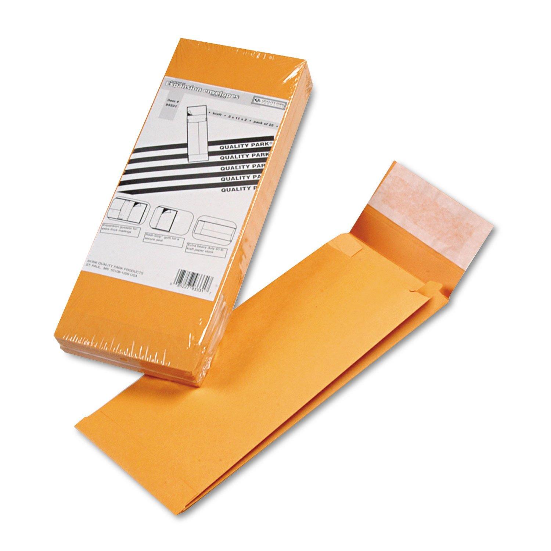Quality Park 93331 Expansion Envelopes,Open-End,40Lb, 5''x11''x2'', 25/PK, Kraft