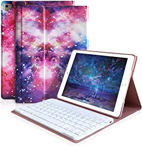 iPad Keyboard Case 9.7 for iPad 2018 (6th Gen), iPad 2017(5th,Gen), iPad Pro 9.7, iPad Air 1/2 Slim Leather Folio Cover with Wireless Bluetooth Keyboard (Galaxy)