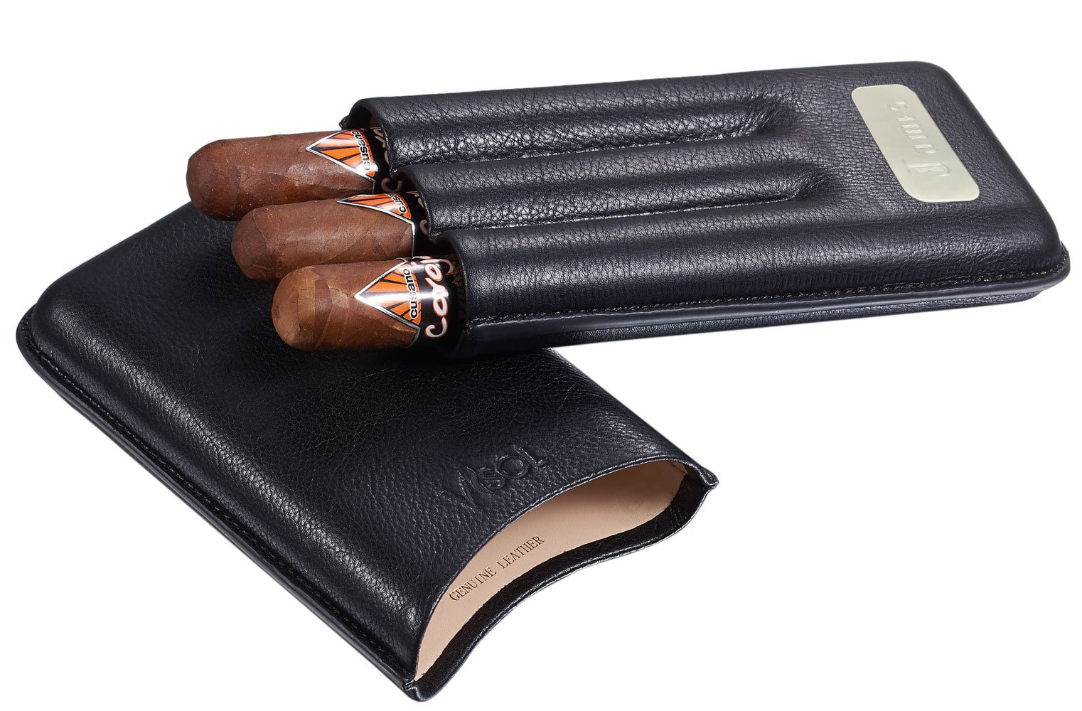 Personalized 3 Finger Leather Visol Cigar Case with Engraved Plate