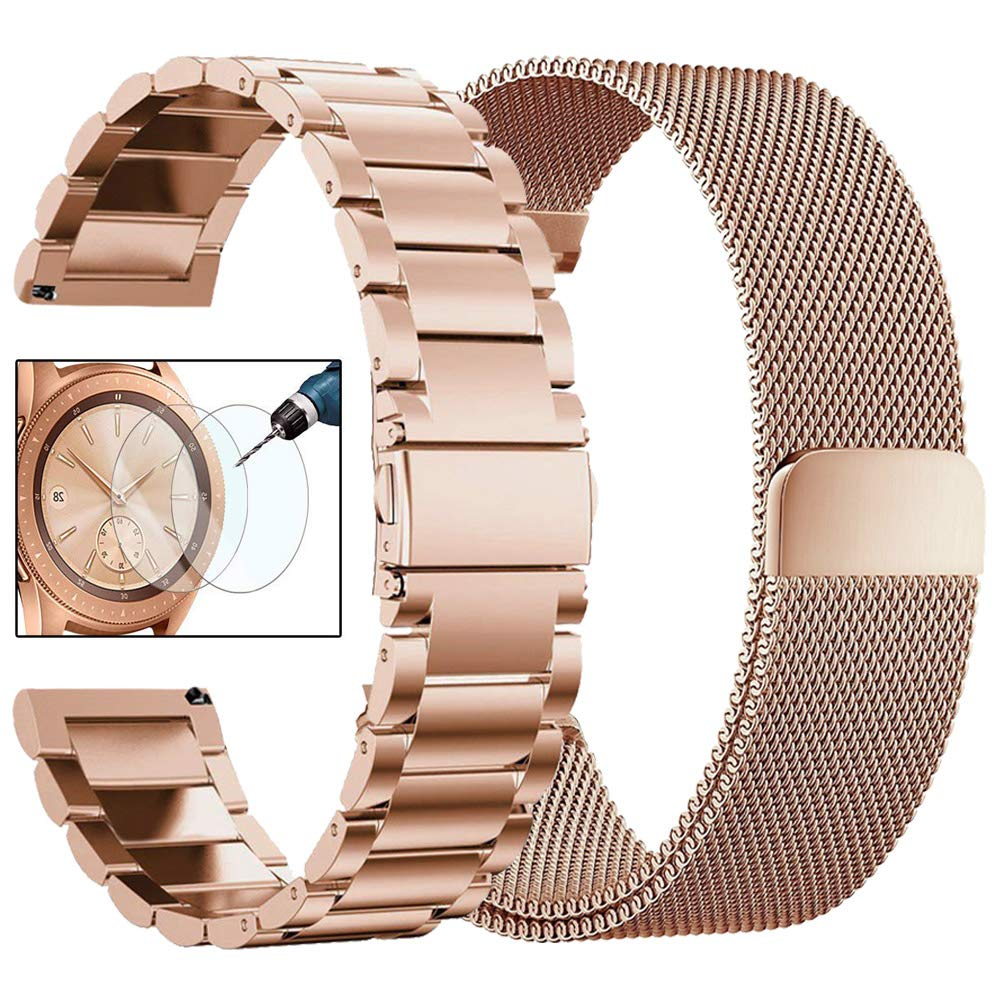 CAGOS Compatible Galaxy Watch 42mm/Galaxy Watch Active Bands Sets, 20mm 2 Pack Stainless Steel Band+Milanese Loop Mesh Bracelet for Samsung Galaxy Watch 42mm /Ticwatch E Smartwatch - Rose Gold by CAGOS (Image #1)