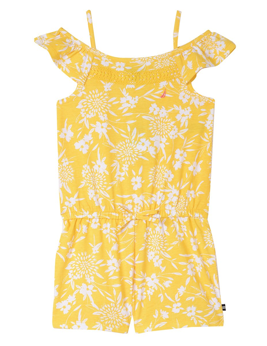 Nautica Toddler Girls' Fashion Romper, Floral Medium Yellow, 3T