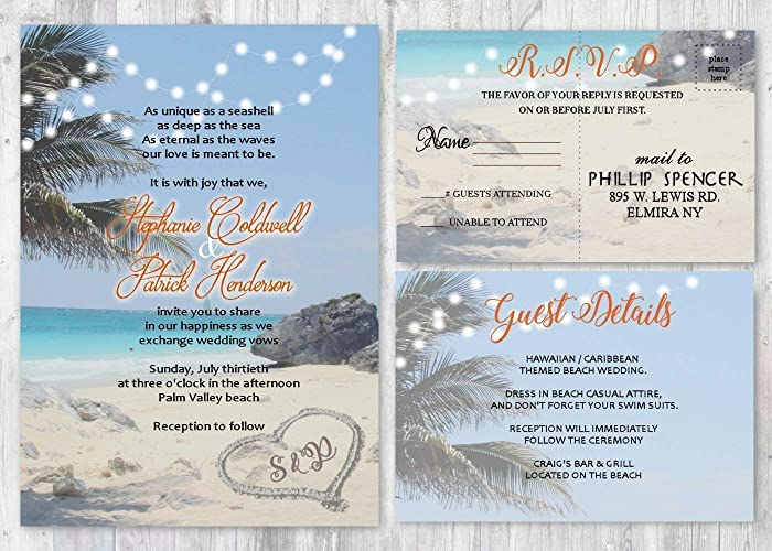 Amazoncom Beach Wedding Destination Invitation Set Of 20