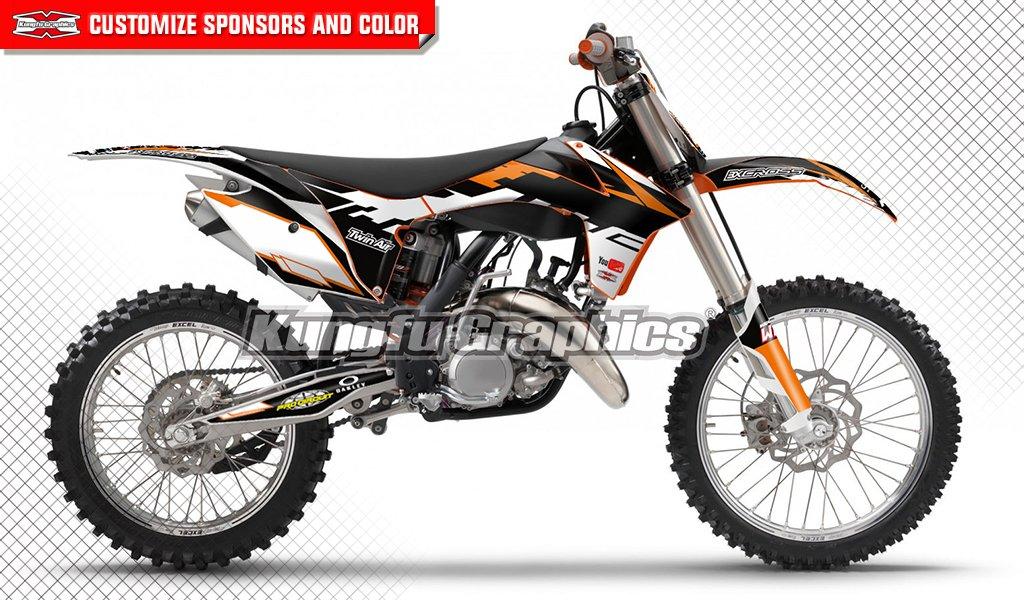 Kungfu Graphicsカスタムデカールキット125 150 250 350 450 SX sx-f SXF XC xc-f XCF 2011 2012、ブルーホワイトオレンジ ブラック KTSXF11120014  style 007 B075CK1ZBN