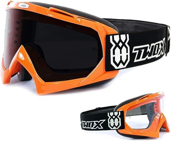 Two X Race Crossbrille Orange Glas Getönt Schwarz Grau Mx Brille Motocross Enduro Motorradbrille Anti Scratch Mx Schutzbrille Auto