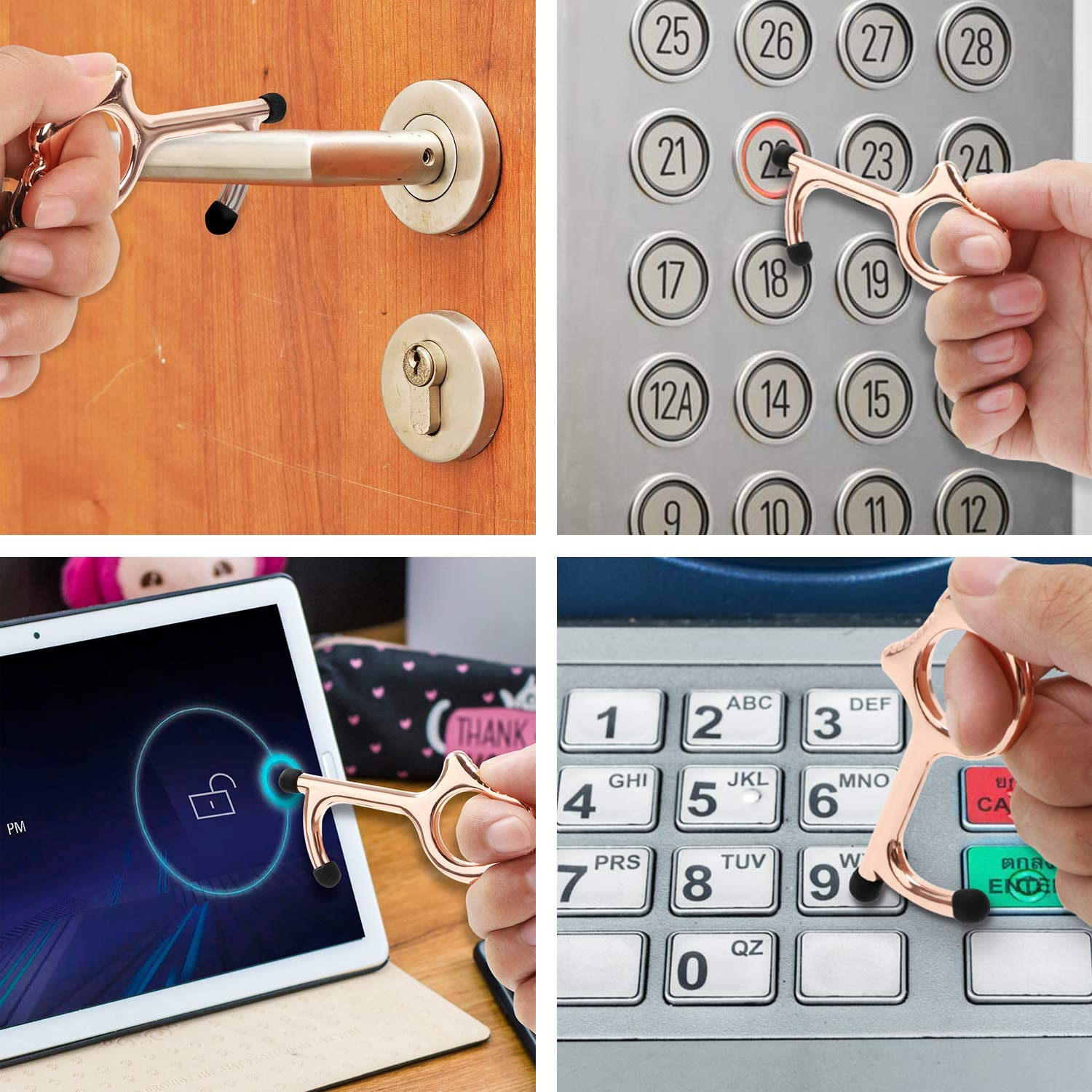 Healthy Portable Contactless Stylus Keychain Clean Key Keep Hands Clean Rose Gold Screen Touch No Touch Door Opener /& Closer Stick for Push The Elevator Button