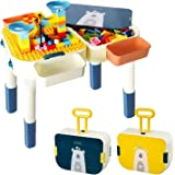 Kids Activity Table with Building Blocks Educational Learning Toys for Toddler Compatible with Lego Duplo Mega Blocks