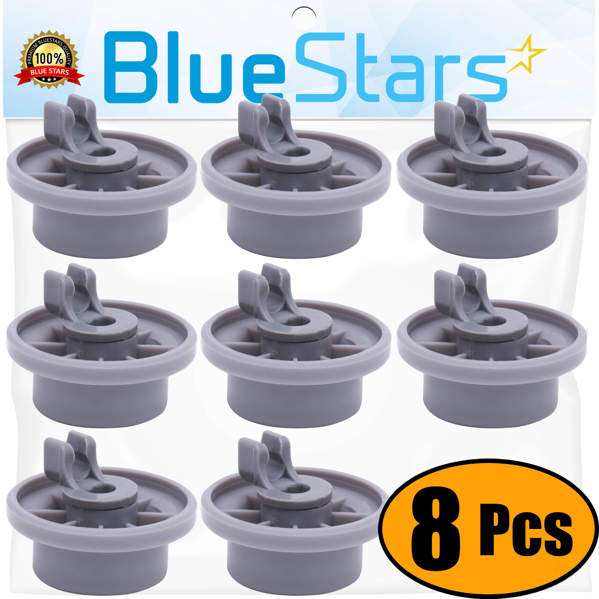 Ultra Durable 165314 Dishwasher Lower Rack Wheel replacement by Blue Stars - Exact Fit for Bosch & Kenmore Dishwasher - Replaces 00420198 420198 - PACK OF 8