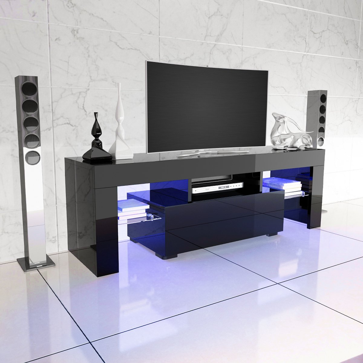 Anaelle Pandamoto Led Meuble Tv En Verre Sur Salle De S Jour  # Table Tele Taille Haute Moderne Chambre