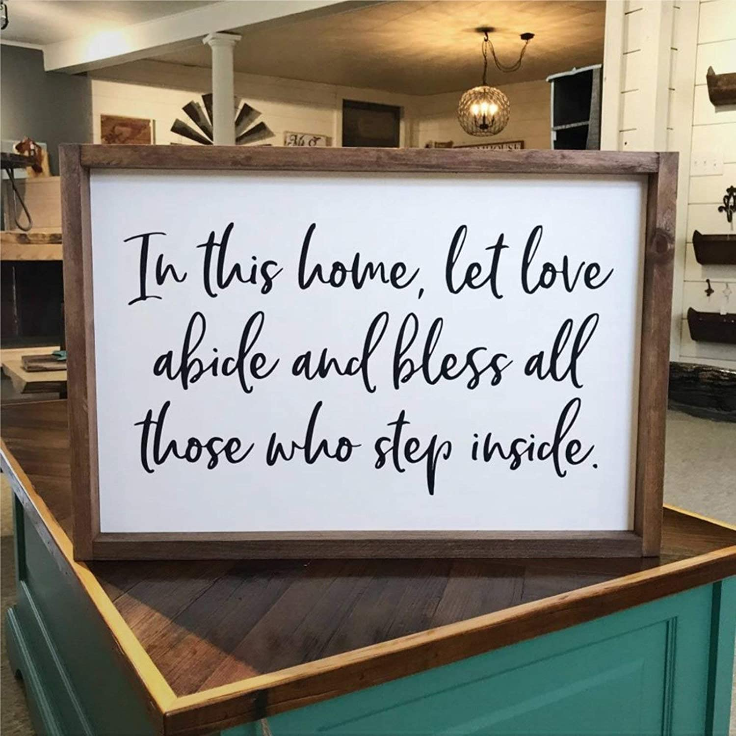 BYRON HOYLE in This Home Let Love Abide Framed Wood Sign, Wooden Wall Hanging Art, Inspirational Farmhouse Wall Plaque, Rustic Home Decor for Nursery, Porch, Gallery Wall, Housewarming