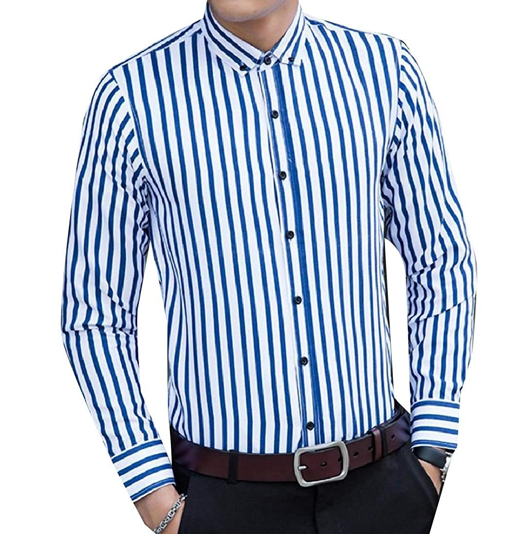 YUNY Men Button Striped Big and Tal Skinny Long-Sleeve Shirt Blouse Tops Blue L