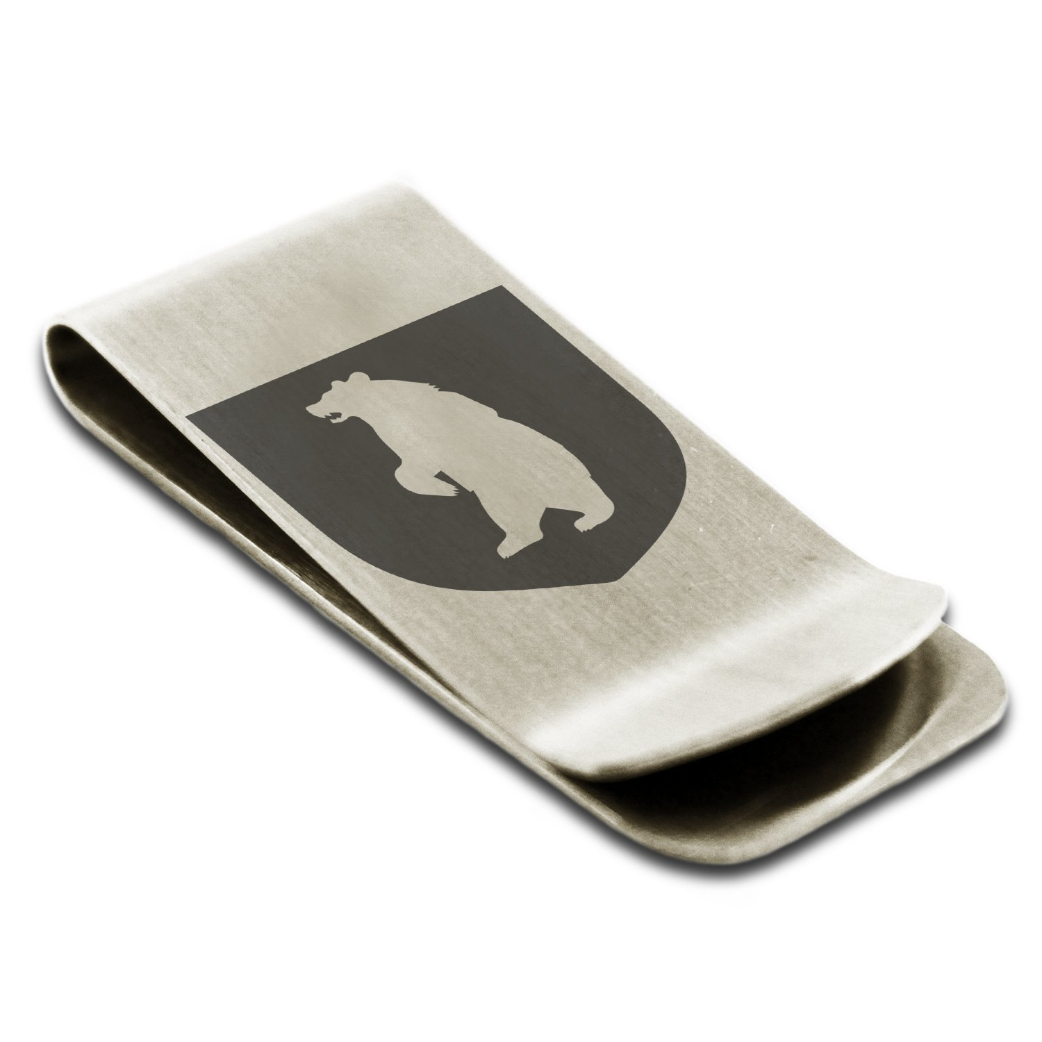 Stainless Steel Bear Ferocity Coat of Arms Shield Symbol Engraved Money Clip Credit Card Holder