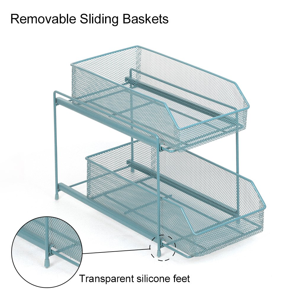 NEX 2 Tier Sliding Cabinet Basket Organizer Drawer, Kitchen Bathroom Countertop Storage Organizer,Spice Jars Bottle Shelf Holder Rack - Light Blue(DB045C)