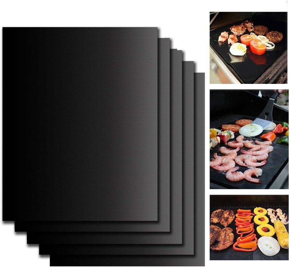 KepooMan Parrilla Barbacoa set de 5 piezas - Reutilizable, duradero, resistente al calor (500ºF), antiadherente. Parrillas para vegetales, gambas, pescado, bacon, pizza, pancakes o huevos