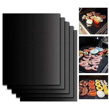 KepooMan Parrilla Barbacoa set de 5 piezas - Reutilizable, duradero, resistente al calor (500ºF), antiadherente. Parrillas para vegetales, gambas, ...