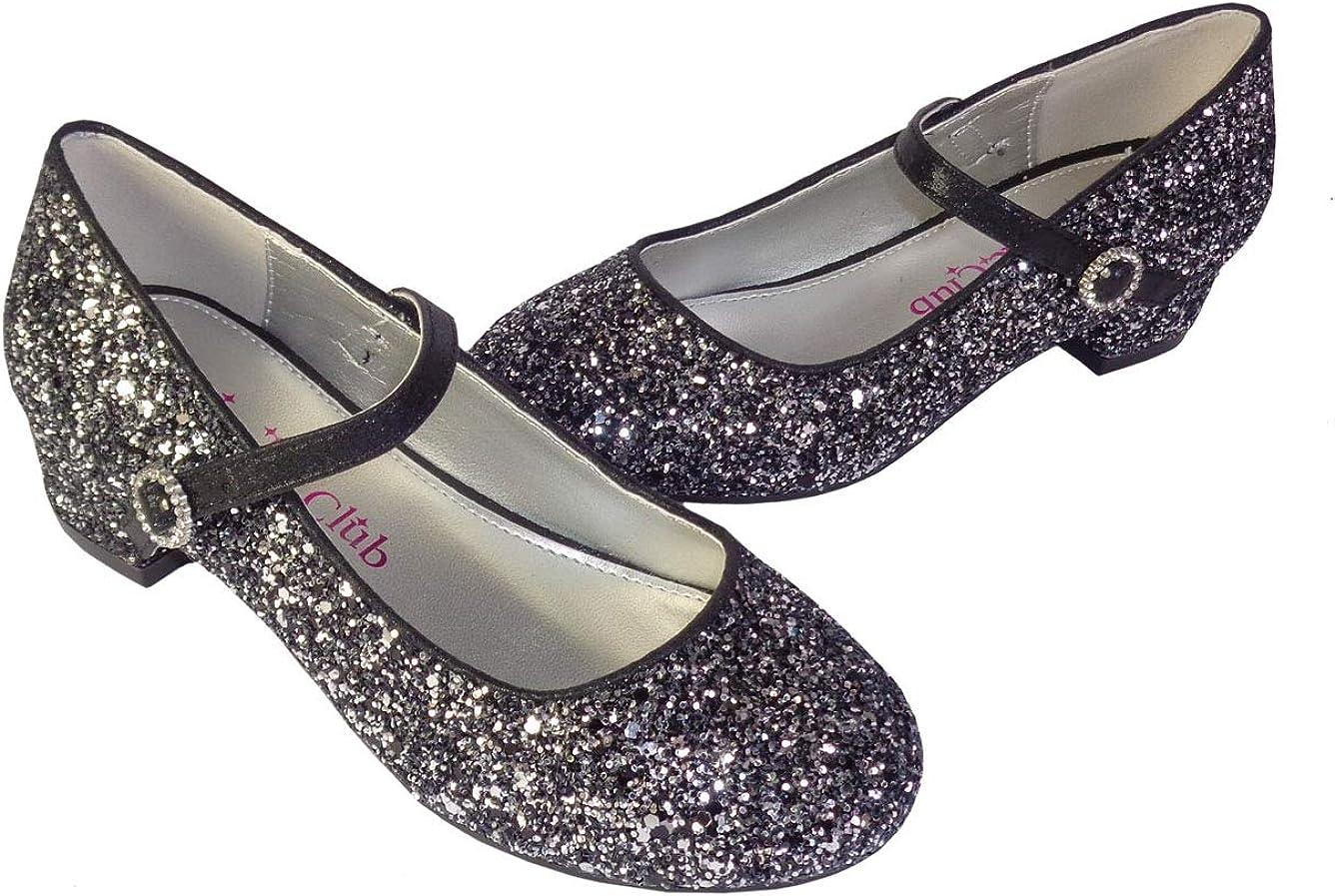 para fiesta con purpurina tac/ón bajo Zapatos de princesa para ni/ñas color negro y plateado