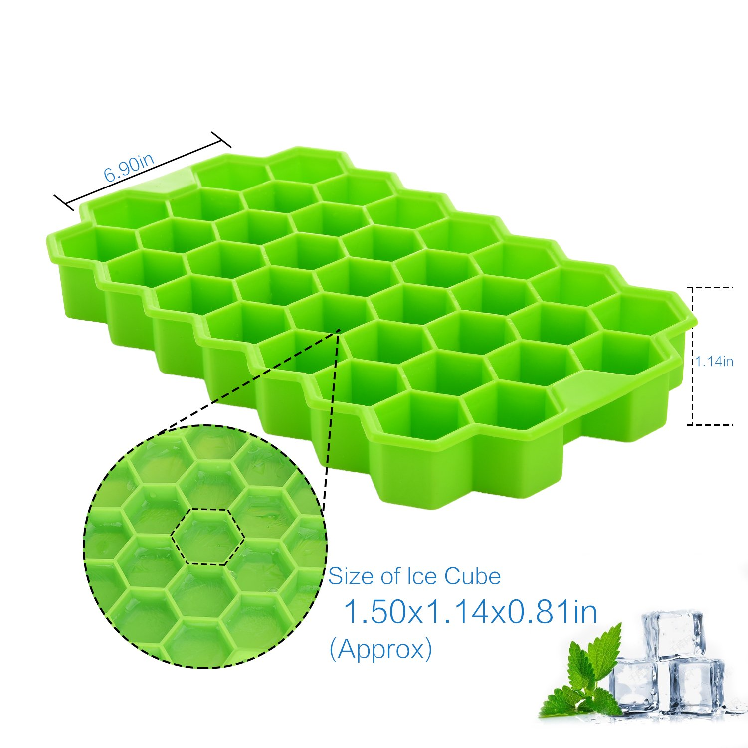 Ice Cube Trays with Lids,Bomstar 2 Pack Food Grade Silica Gel Flexible 74 Ice Trays with Spill-Resistant Removable Lid,BPA Free Ice Cube Molds for Whiskey Storage,Cocktail,Beverages by BomStar (Image #5)