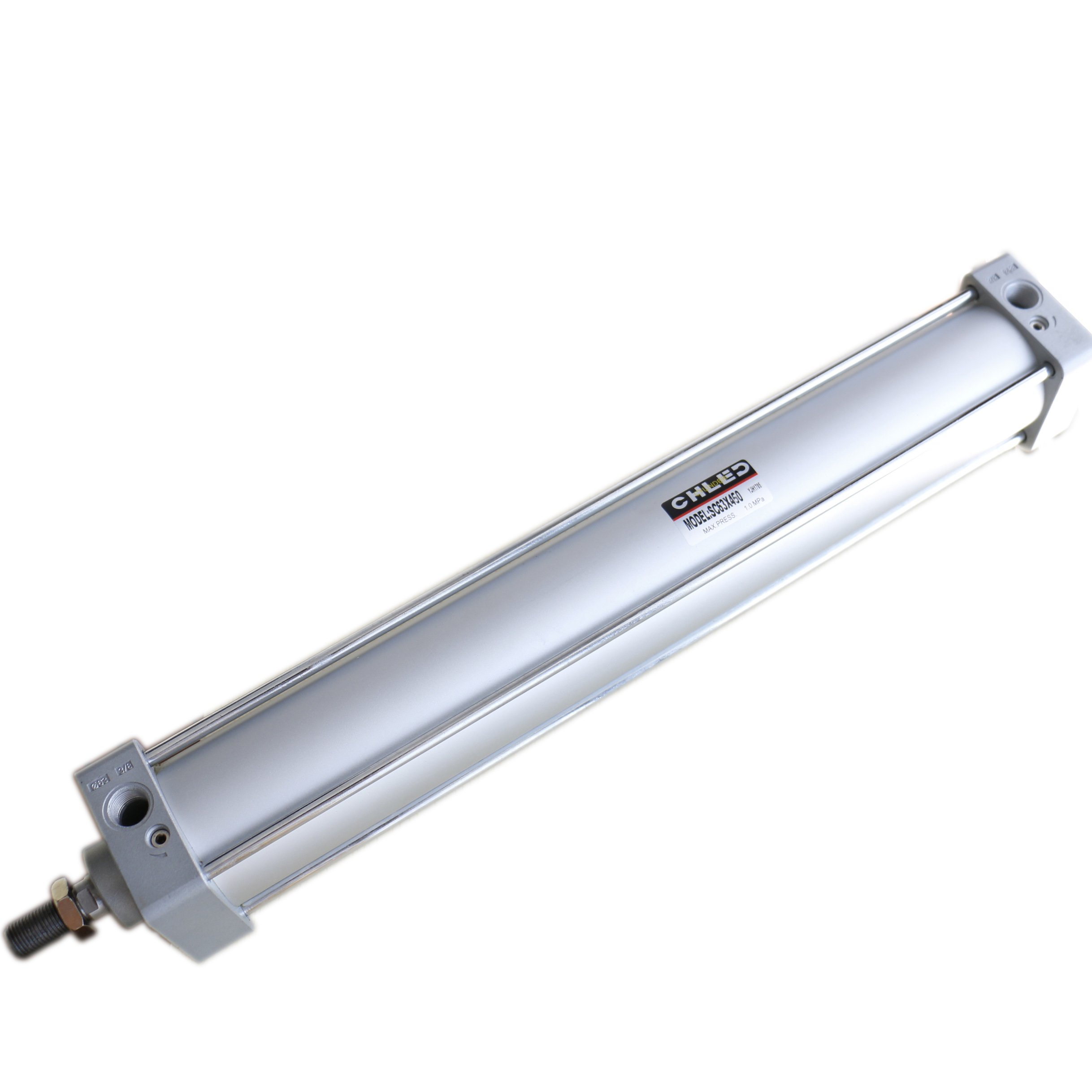 Baomain Pneumatic Air Cylinder SC 63 x 450 PT 3/8, Bore: 2 1/2 inch, Stroke: 18 inch, Screwed Piston Rod Dual Action