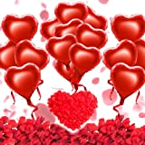 HusDow Valentines Day Decorations Kit,1000 Pcs Red Rose Petals and 20pcs Valentines Day Balloons 18inch Red Heart Balloons Decorations for Valentines Day Party Supplies Wedding Anniversary Engagement