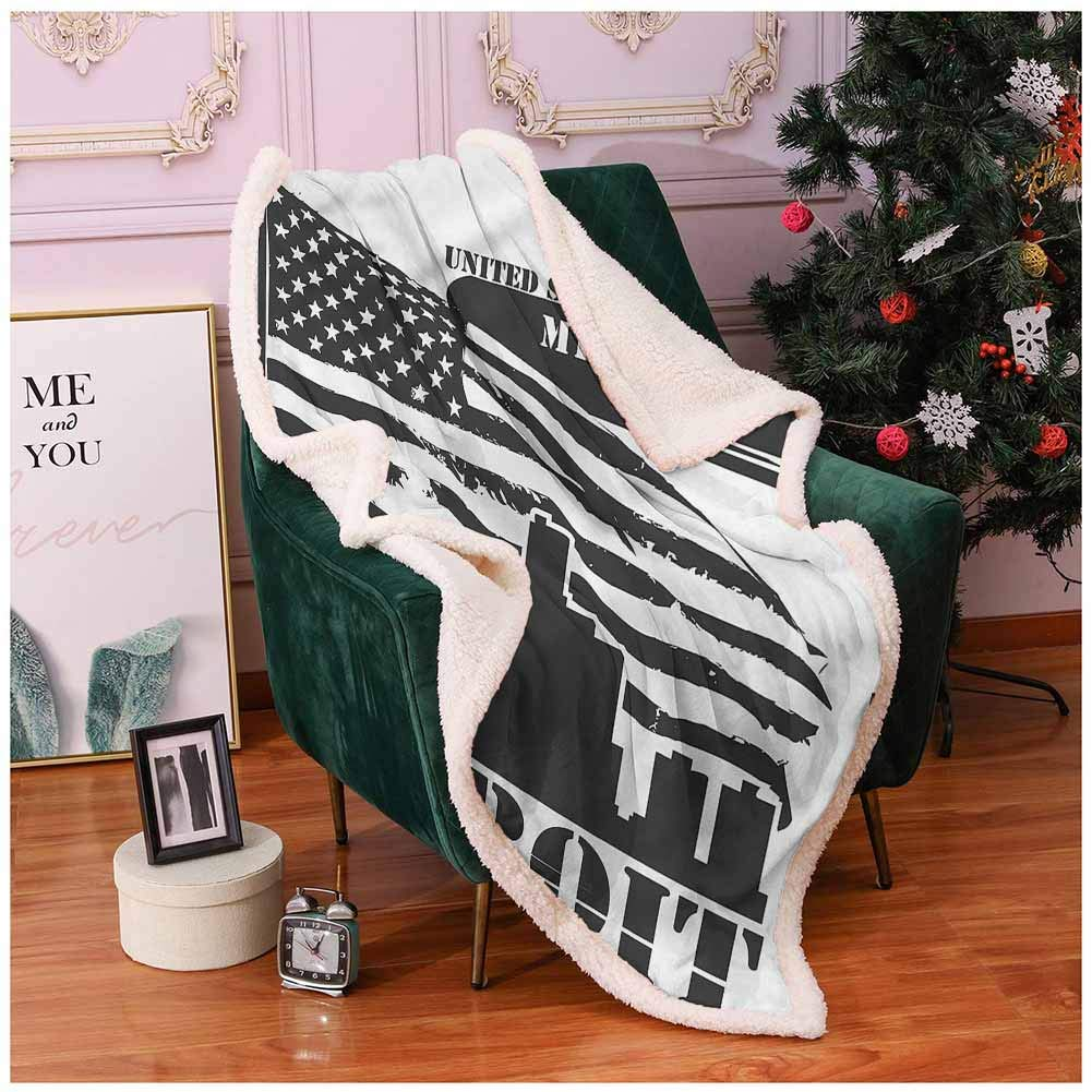 Miles Ralph Blankets and Throws Fleece Blankets Detroit,USA Flag Grunge City Frozen Blanket 50''x65'' by Miles Ralph