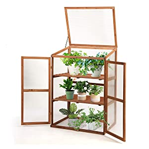 """Giantex Wood Cold Frame Garden Greenhouse Raised Bed Protective Planter for Vegetable and Flowers, Indoor and Outdoor Vented Plant Cover (3 Tier (30""""Lx22""""Wx43""""H))"""