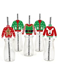 Ugly Sweater Paper Straw Decor - Holiday & Christmas Party Striped Decorative Straws - Set of 24