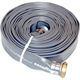 """Goodyear EP Spiraflex Pliovic Compound Discharge Hose Assembly, Gray, 1.5"""" Male X Female Water Shanks , 90 PSI Maximum Pressure, 1.5"""" Hose ID, 50' Length"""