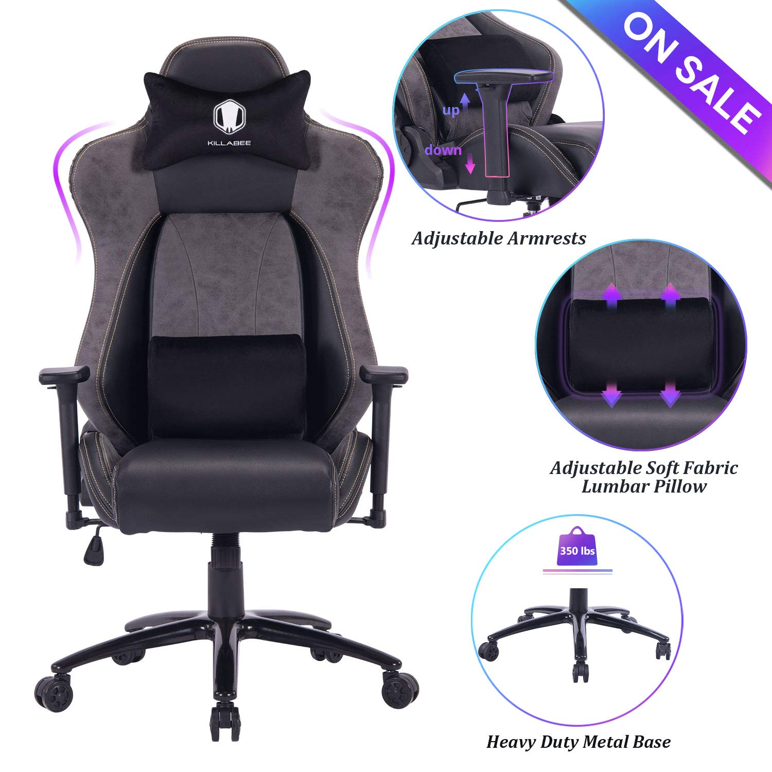 VON RACER Big and Tall Gaming Chair Racing Office Chair - Adjustable Back Angle, Soft Fabric Lumbar Support and Arms Ergonomic High-Back Leather Computer Desk Swivel Chair w/Metal Base, Black by VON RACER