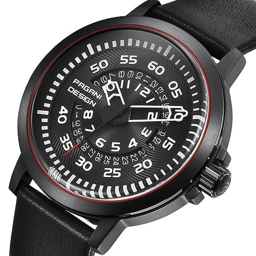 f55eaa22ac5c Diseño único hueco Calendario Moda Hombre Reloj Pagani marca mesa grande  impermeable relojes de cuarzo  Amazon.es  Relojes