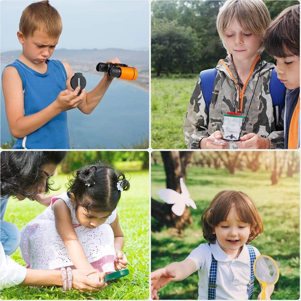 Lampe de Poche la randonn/ée Compas Sifflet Exploration de LAventure pour Enfants Twister.CK 27PCS Kids Outdoor Explorer Kit Ensemble Cadeau gar/çons pour Le Camping Jumelles