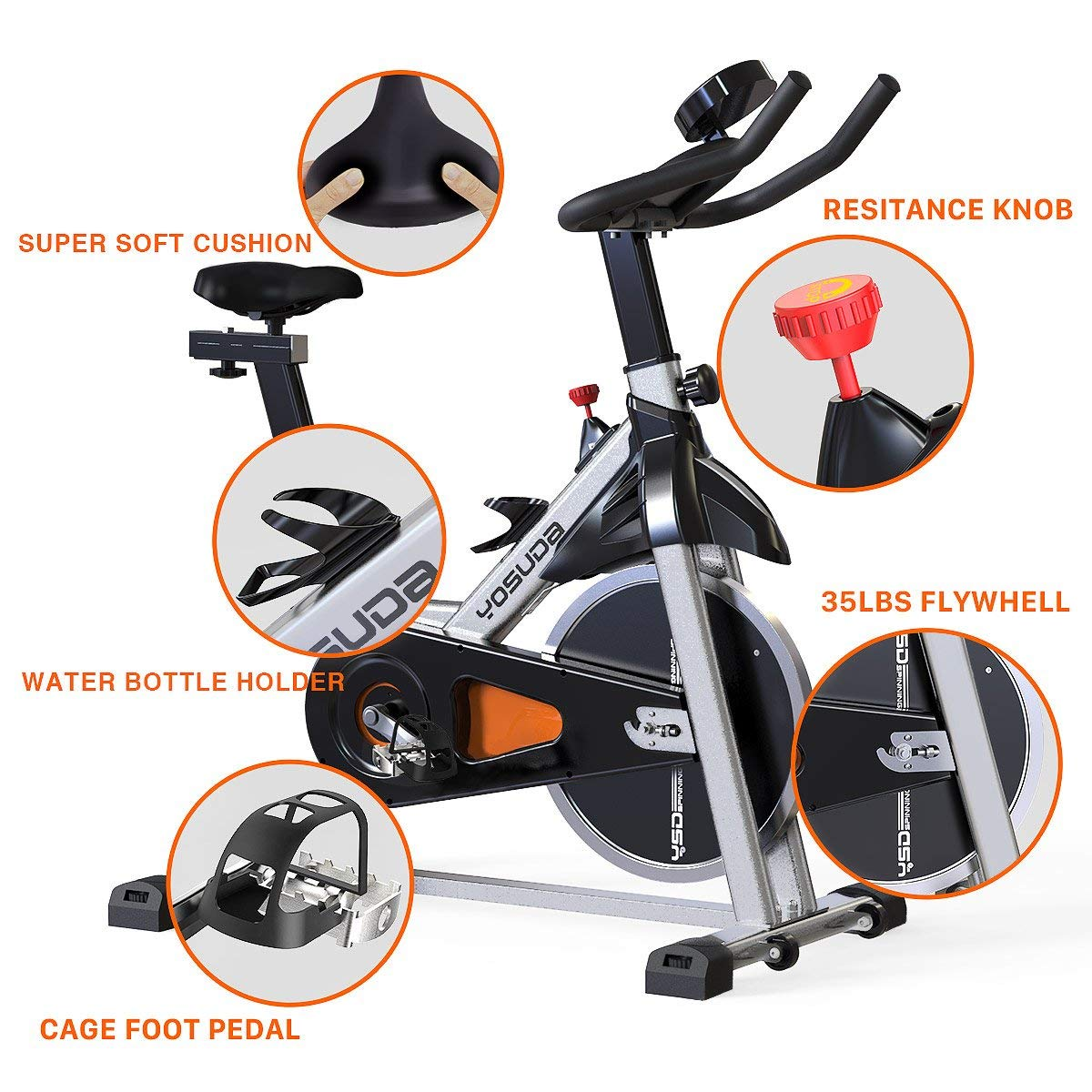 YOSUDA Indoor Cycling Bike Stationary - Cycle Bike with Ipad Mount & Comfortable Seat Cushion by YOSUDA (Image #5)