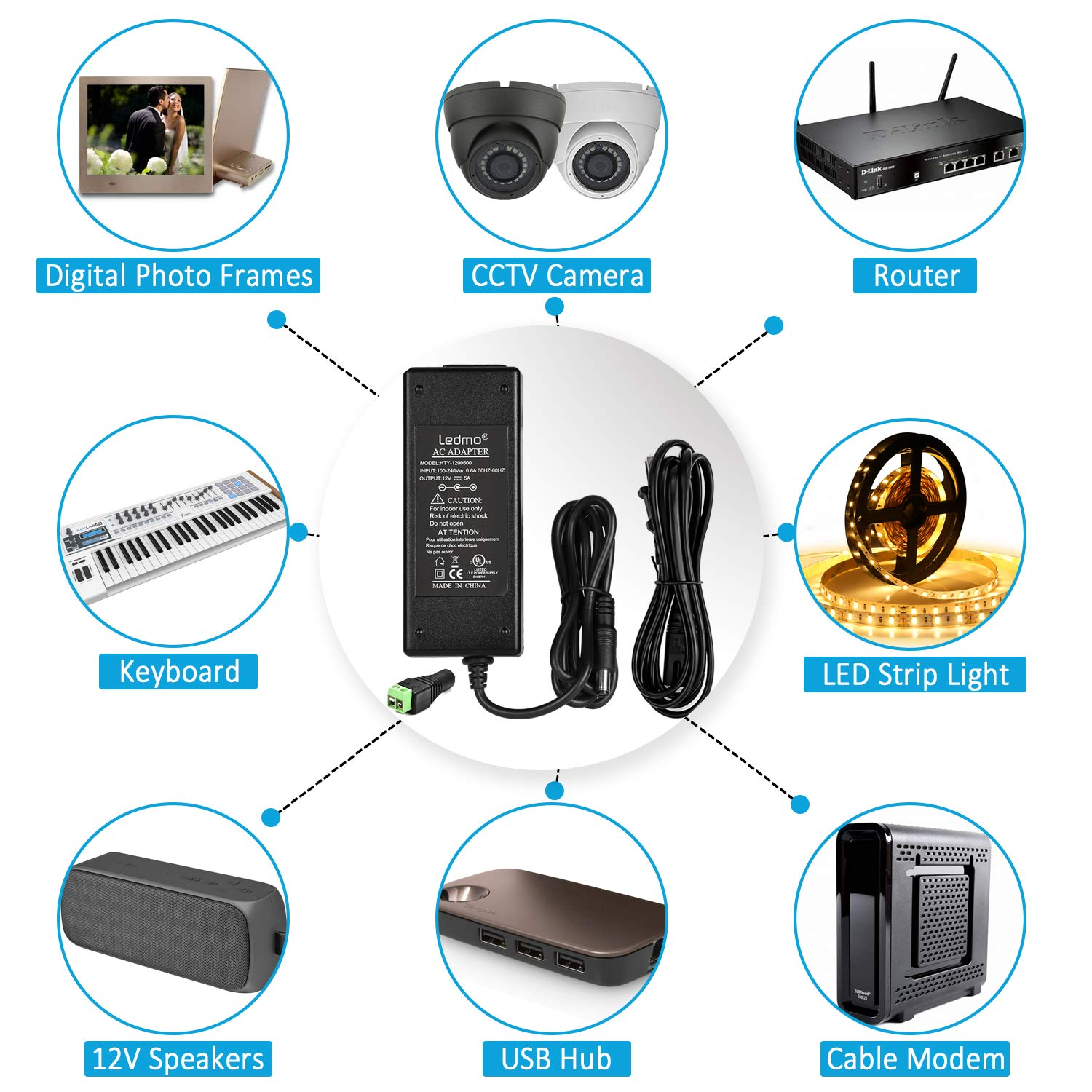 LED Power Supply, LEDMO Power Adapter, AC 100-240V to DC 12V Transformers, Power Supply for LED Strip Light, 60W Max, 5A