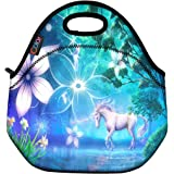 ICOLOR Unicorn Insulated Neoprene Lunch Bag Tote Handbag lunchbox Food Container Gourmet Tote Cooler warm Pouch For School work Office