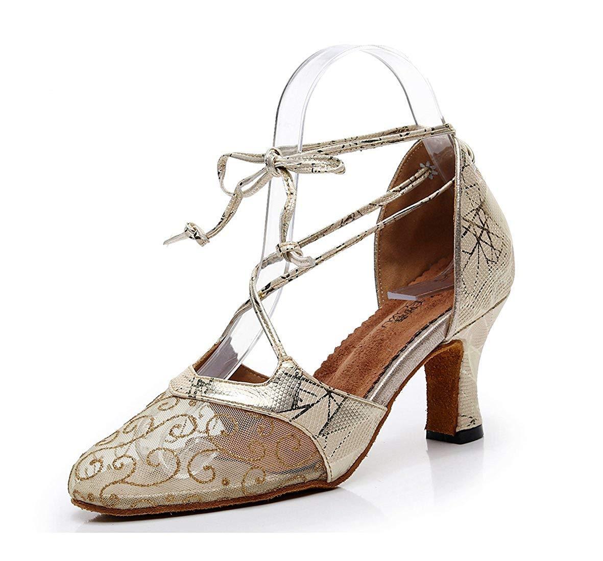 HhGold Damen Floral gedruckt Gold Mesh Mandel Toe Latin Tanzschuhe Hochzeit Pumps UK 5 (Farbe   - Größe   -)
