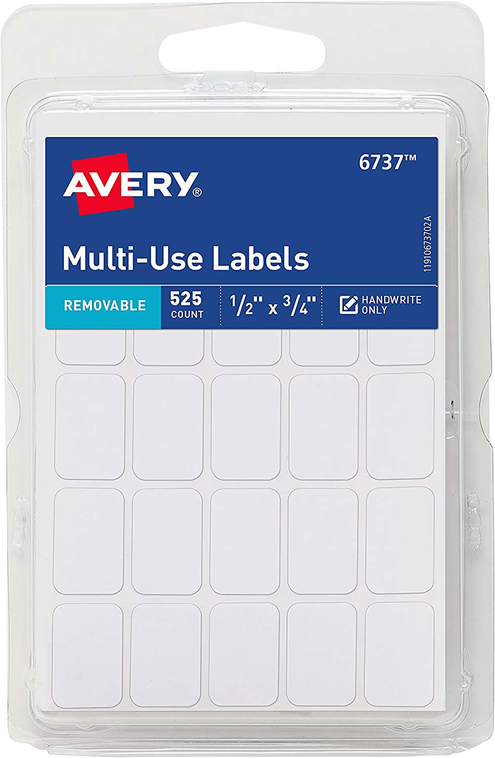 Avery Removable Labels, Rectangular, 0.5 x 0.75 Inches, White, Pack of 525 (6737) : Office Products