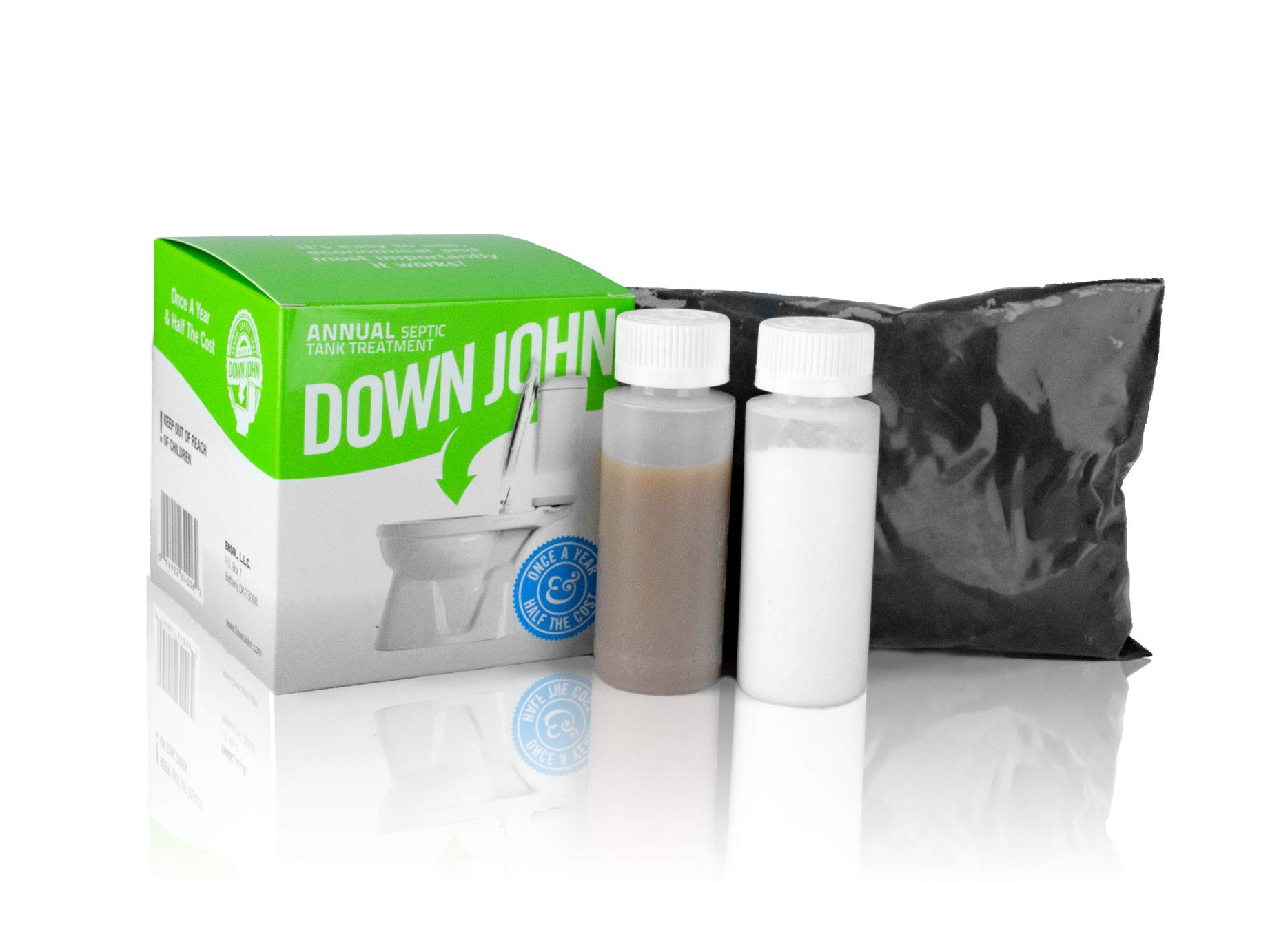 Down John Septic Tank Treatment (Once-a-Year) Live Bacteria, Grease-Eating Enzymes and Stabilizing Carbon - Additive Stops Odor and Backups, Cleans and Restores Septic Tank Systems and Drain Fields by Down John