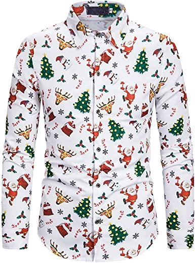 Hombre Camisas Navidad, Manga Larga Casual Navidad Impresión Otoño Invierno Nuevo Camisa de Moda Slim Fit Long Sleeve Blusa Tops Camiseta Botón Shirt Diseño de Personalidad vpass: Amazon.es: Ropa y accesorios
