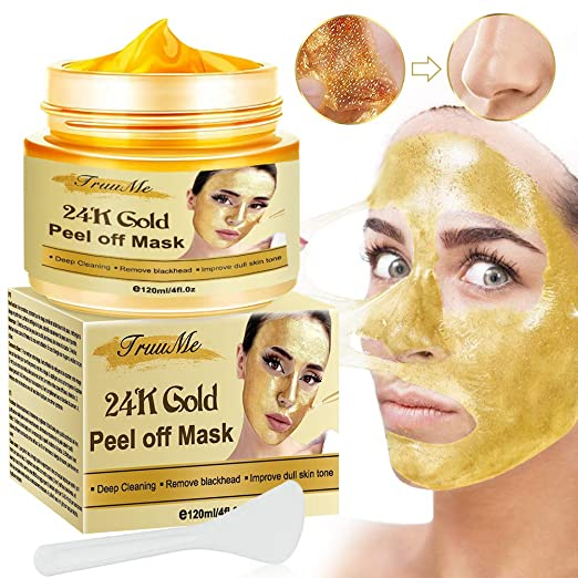 Amazon.com : Gold Facial Mask, Peel off Mask, Blackhead Remover Mask with  24K Gold Extract, Anti-Aging, Deep Cleansing Blackhead & Acne Scars, Dirt &  Oil, Repairs Uneven Skin Tone : Beauty