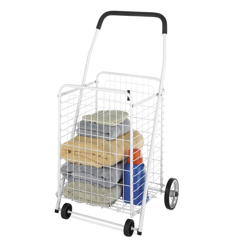 Amazon.com: Whitmor Rolling Utility / Shopping Cart White: Home ...