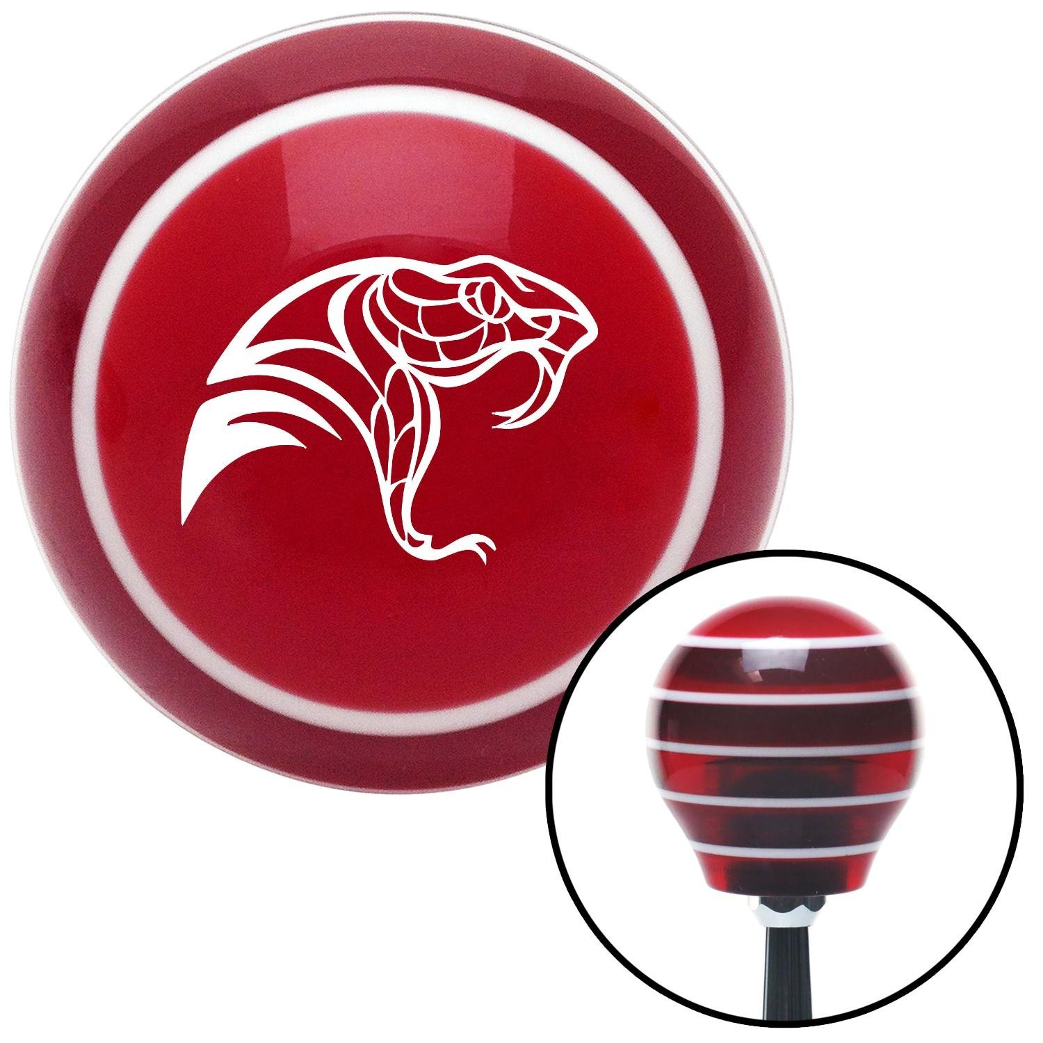 American Shifter 111785 Red Stripe Shift Knob with M16 x 1.5 Insert White Snake Profile
