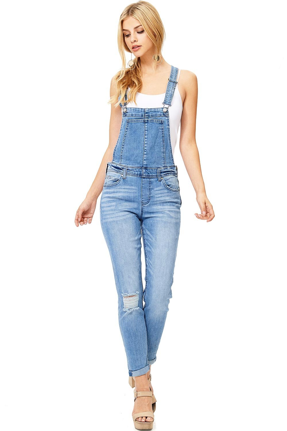 Celebrity Pink Women's Juniors Vintage Style Denim Overalls (11, Denim)