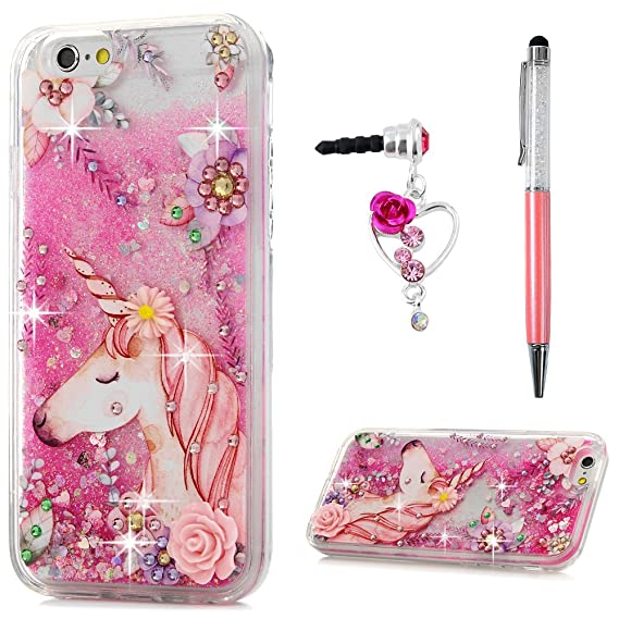 superior quality 59640 f96c2 iPhone 6 Case, iPhone 6S Case, Glitter Liquid Case Cover Bling Sparkle  Rhinestone Cute Pink Unicorn Flowers Quicksand Moving Flowing Love Heart  Slim ...