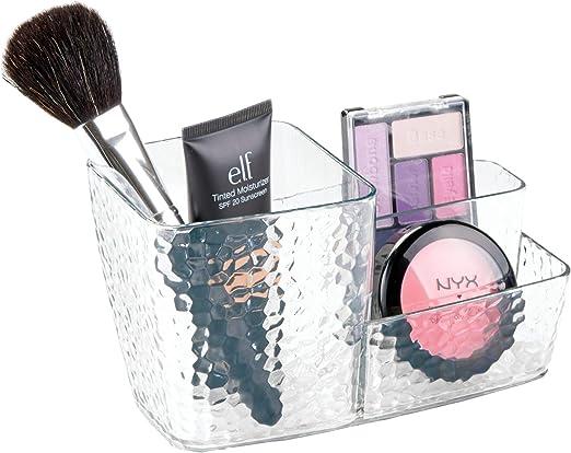 iDesign Organizador de maquillaje, caja de plástico con textura ...