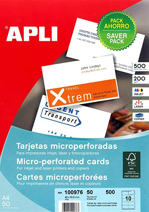 Apli 100976 500 Cartes De Visite 90mm X 508mm 200 G