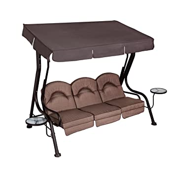 Living Accents 3 Person Deluxe Canopy Swing With Movable Side Tables