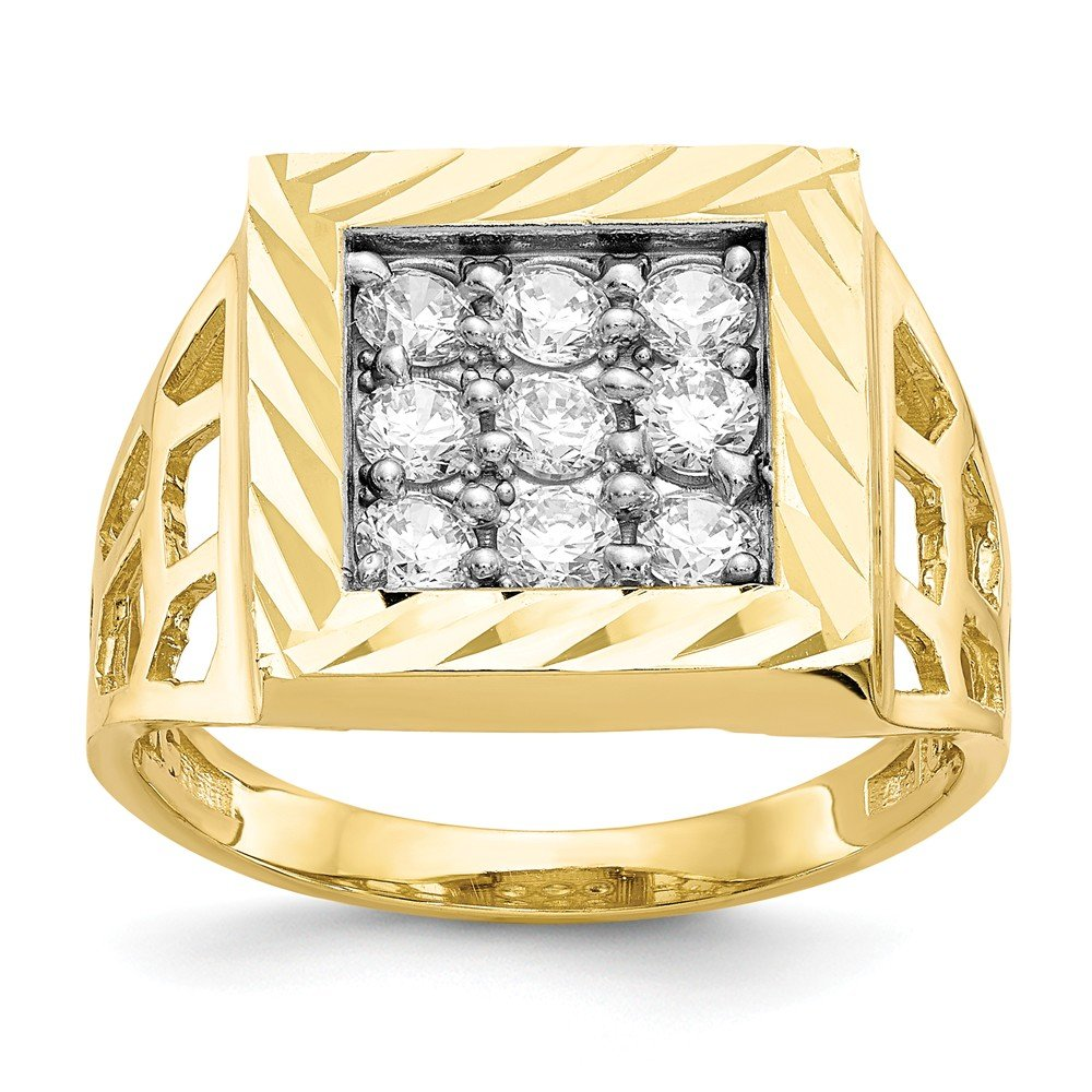 10k Yellow Gold Mens Cubic Zirconia Cz Band Ring Size 10.00 Man Fine Jewelry Gift For Dad Mens For Him