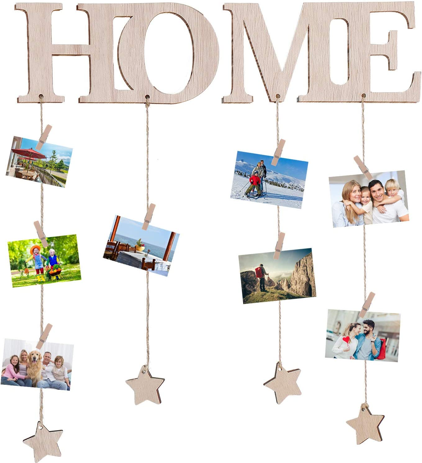 Jetec Hanging Picture Display with Clips Wood Wall Home Photo Display Board Decor Picture Board String Picture Hanger Frame and Photo Collage Organizer for Wall Room Decor