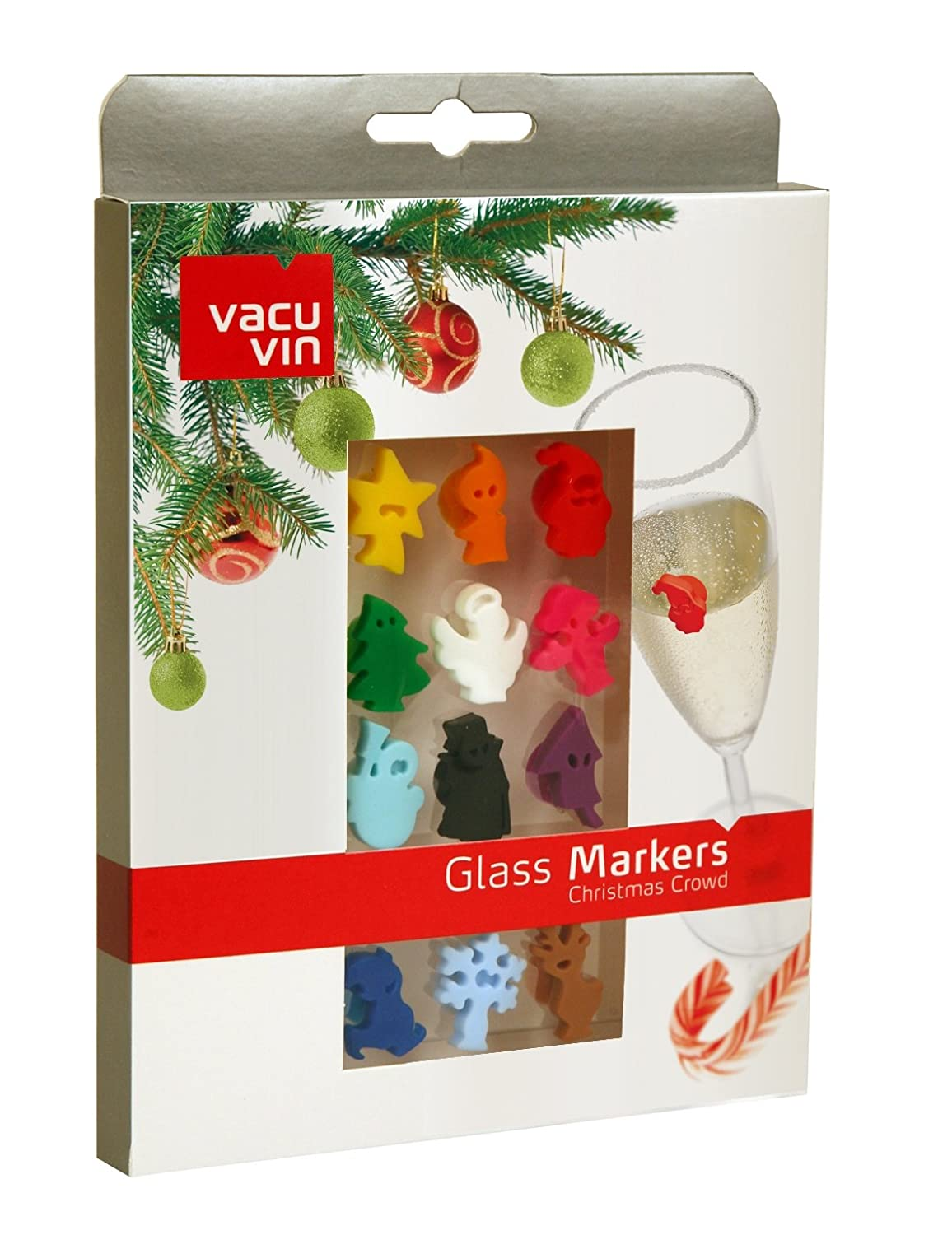 Greet the Christmas Crowd Vacu Vin Wine and Beverage Glass Markers (Set of 12)