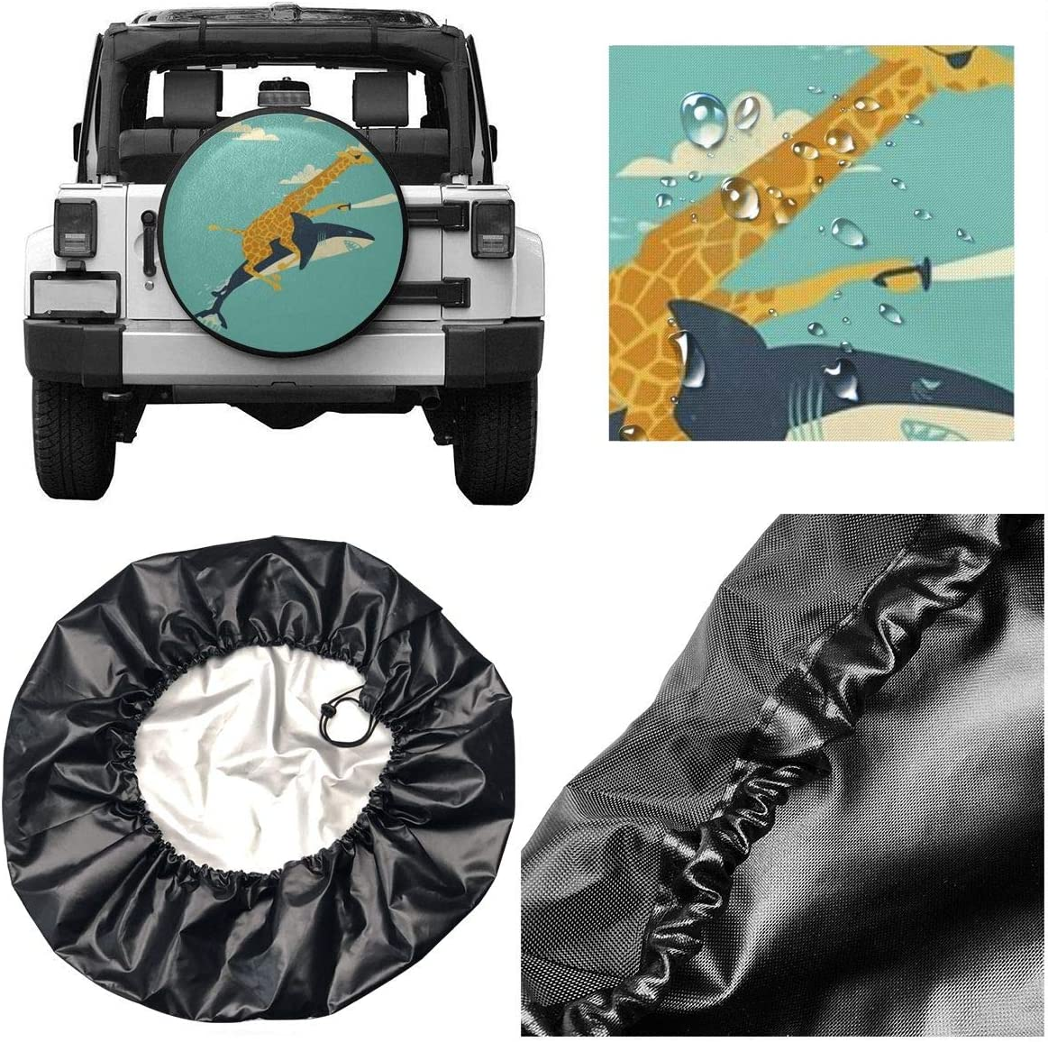 Waterproof Universal Wheel Tire Cover Protector Funny Giraffe and Shark Illustration Fit for Jeep,Trailer Homlife Spare Tire Cover SUV and Many Vehicle RV 4